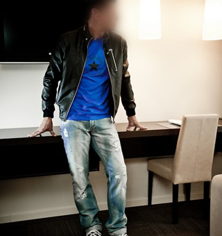 Gigolo David in leather jacket and jeans