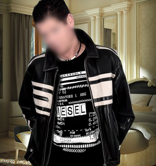 gigolo david jeans and leather jacket in hotel suite